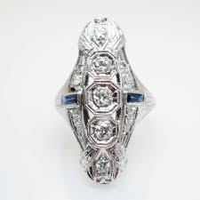 vintage art deco u0026 sapphire cocktail ring engagement ring