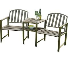 Bench And Table Set Buy Duo Garden Bench And Table Set Steel At Argos Co Uk Your