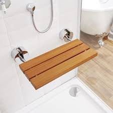 Teak Wood Shower Bench Bengal Teak Folding Shower Seat With Chrome Brackets