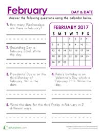 day and date 2nd grade calendar worksheets education com