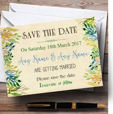 save the date cards cheap vintage autumn leaves watercolour personalised wedding save the date