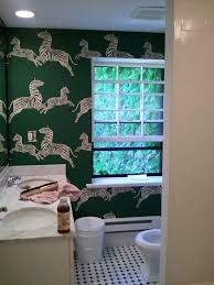 Wallpaper Powder Room Wall Paper With Our Tiles For The Home Pinterest Zebra