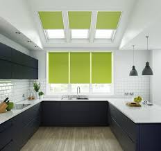 lime green roller blinds in unilux fabric fitted to windows and