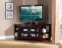 T V Stands With Cabinet Doors Wide Espresso Wood Corner Tv Stand With Mount And Glass Cabinet