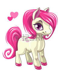 cute cartoon white baby horse pink hair beautiful