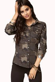 camo blouse lyst forever 21 camo denim shirt you ve been added to the