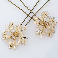 hair pins haute accessories gold chagne floral bridal hair pins