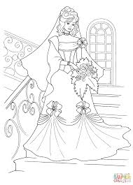 princess and her wedding dress coloring page supercoloring com