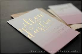 gold foil wedding invitations custom dip dyed gold foil wedding invitations with wood envelopes
