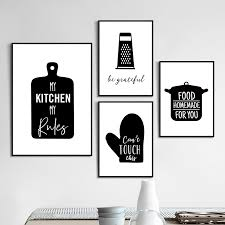 black and white prints for kitchen kitchenware wall canvas painting kitchen quote posters