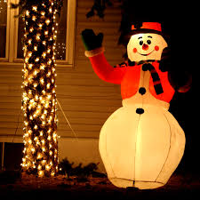 lighted snowman yard ornament picture free photograph