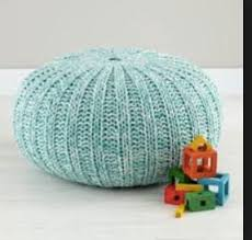 Woven Pouf Ottoman Land Of Nod Aqua And White Woven Pouf Ottoman In River West Cook