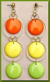 1960 s earrings 60s mod yellow hoop earrings vintage 1960s plastic statement the
