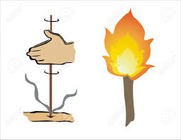 drawing of a torch and fire royalty free cliparts vectors and