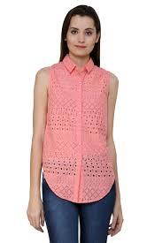 buy shimaya pink floral print cotton sleeveless casual designer