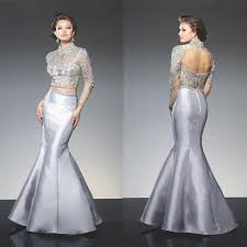 modest mermaid two pieces evening dresses high neck long sleeves