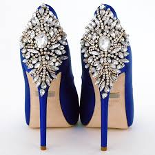 badgley mischka kiara sapphire blue wedding shoes bridal glam