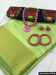 pista colour pista colour pure nylon tussar silk saree with jewellry