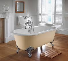 art deco cream acrylic freestanding tub with carved chrome metal  with round white bowl tub  from homelenacom