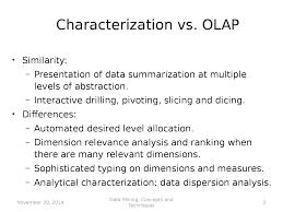 data minining analytical characterization