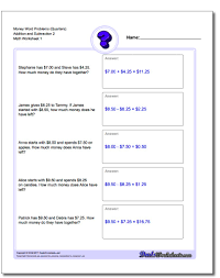 addition and subtraction money word problems