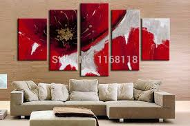 5 piece canvas wall art hand painted palette knife oil 2018 5 panel wall decor modern art set abstract beautiful big red