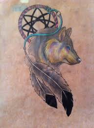 wolf in dreamcatcher design for and