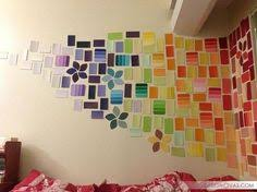 my new feature wall made from hundreds of paint colour samples