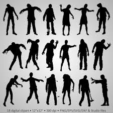 free halloween party clipart buy 2 get 1 free digital clipart zombie silhouettes walking dead