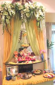 pooja decorations at home home decoration for ganesh festival home ganpati decoration