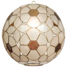 Capiz Light Pendant 1960s Capiz Shell Floral Globe Light Fixture At 1stdibs
