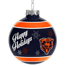 chicago bears happy holidays glass ornament nflshop