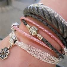 pandora leather bracelet pink images Pandora jewelry gray braided double leather bracelet poshmark jpg