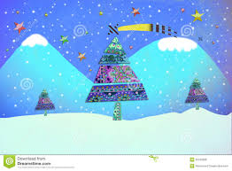 funny christmas card christmas trees in a snowy landscape stock