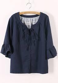 linen blouses navy blue drawstring v neck bat sleeve linen blouse blouses tops