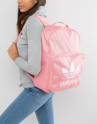 adidas classic trefoil backpack light pink adidas originals adidas originals trefoil logo backpack in pink