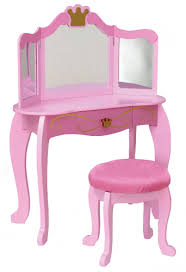 Disney Princess Vanity And Stool Wooden Pink Princess Bedroom Vanity Set By Kidkraft Kids