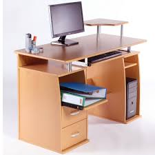 Beech Computer Desk by Computer Desk Workstation Table With Keyboard Shelf And Storage