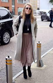 geri horner wears long winter coat leaves itv studios in london