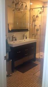 two sink bathroom designs no room for a double sink vanity try a trough style sink with two