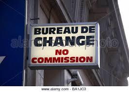 bureau de change no commission shop sign stock photo royalty free