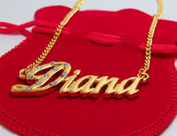 Gold Plated Name Necklace 18 Karat Gold Plated Name Necklace Diana Including Czech
