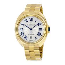 cartier watches bracelet images Cartier cle silvered flinque dial 18kt yellow gold men 39 s watch jpg