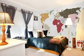 funky teenage bedroom design ideas with world map wall mural decal