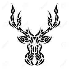 abstract symmetric deer head ornament tribal tattoo vector