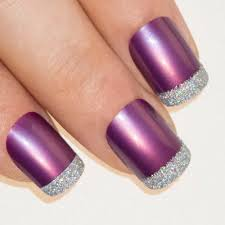 nails by bling art purple silver french manicure fake medium tips