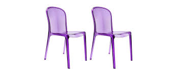 chaise violette lot de 2 chaises design transparentes violettes polycarbonate