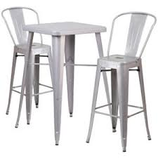 silver metal bar table 23 75 square silver metal indoor outdoor bar table set with 2