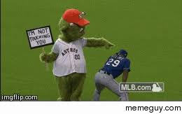 Houston Astros Memes - the houston astros mascot is doing some quality trolling today