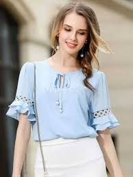 light blue top women s light blue blouse women s round neck half sleeve lace up casual top